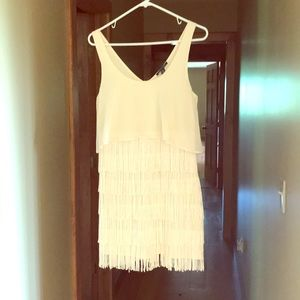 Cream Fringe Dress